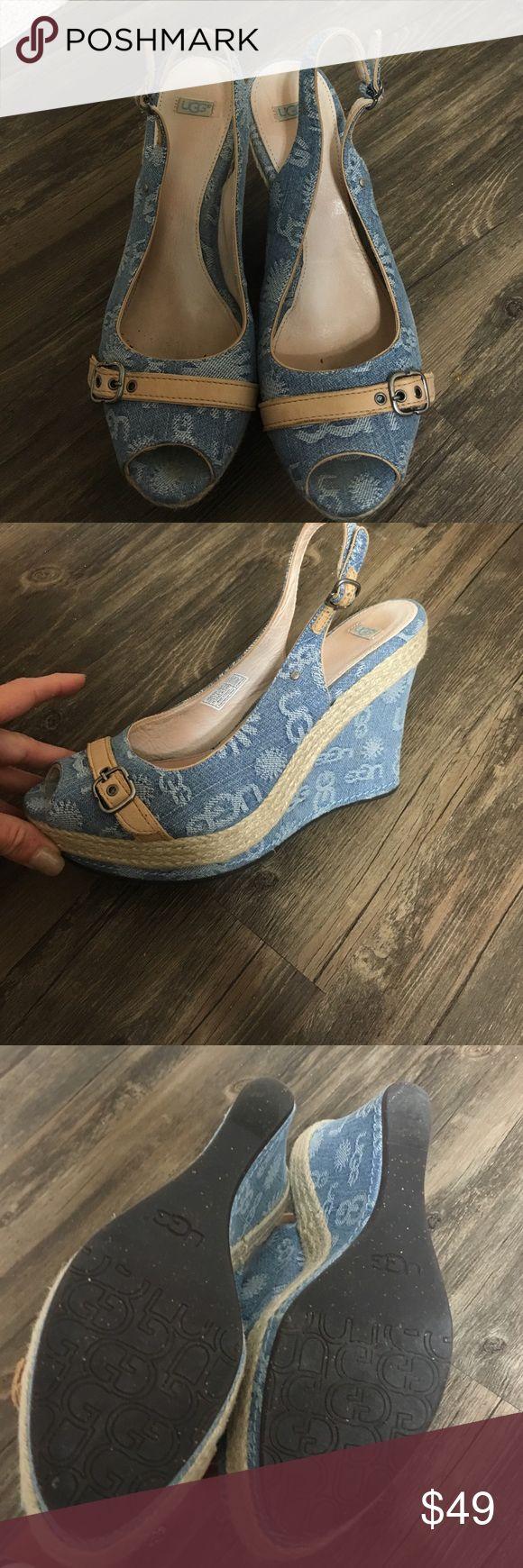 Ugg denim platform wedges. Denim uggs with rope around the heel. Worn once or twice like new. UGG Shoes Platforms