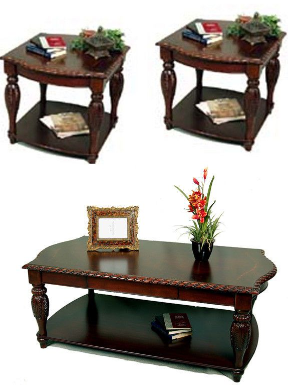 3 Piece Brown Cherry Rectangular Cherry Coffee End Table Set End