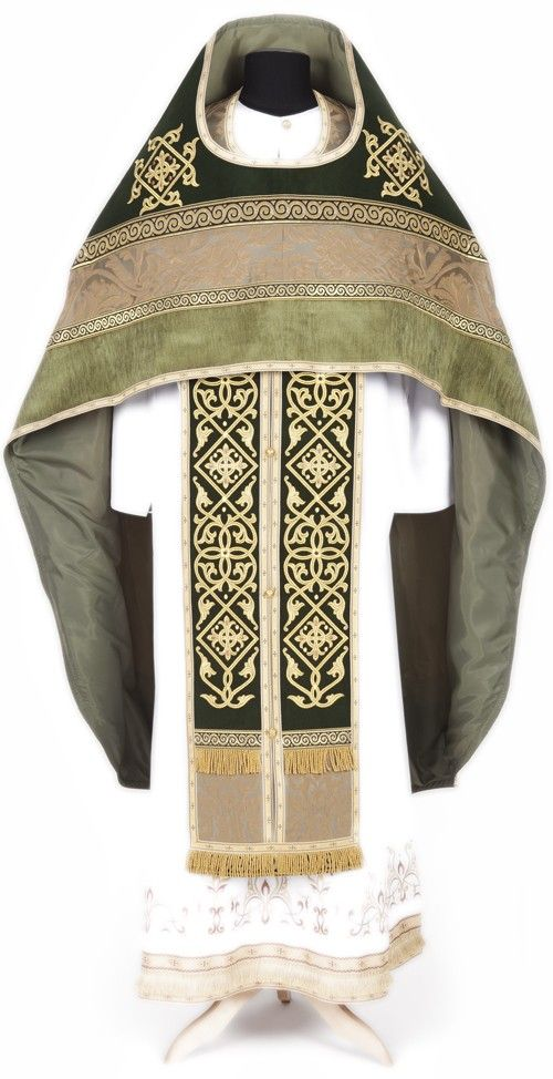 Green priest vestment, $670.00,The upper part of the phelonion is decorated with…
