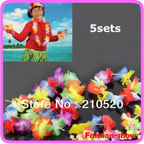 E74 Hawaiian Flower Necklace + Lei Headband + 2pcs Bracelets Anklet Fancy Dress Garland Beach Hula 5Sets/lot #Affiliate