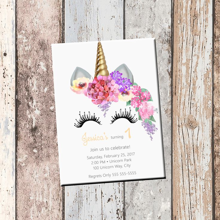 Unicorn Personalized Birthday Invitation 1 Sided, Birthday Card, Party Invitation, Unicorn Party