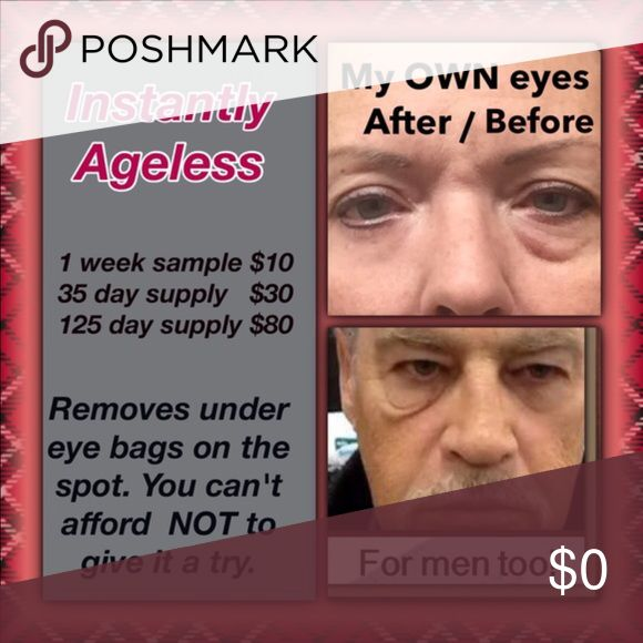 Instantly Ageless Eye Cream Makeup Removes bags from under your eyes within 3-5 minutes when used as a part of your daily make-up routine. Lasts the whole day ( up to 10 hours). This is an amazing product that really works and is not a scam. I use it every day and will not leave the house without it. I'm 51 and these are my actual photos - before and after. It must be used with oil free makeup. Let me know which package you want and I will make a special listing just for you. Jeunesse Makeup…
