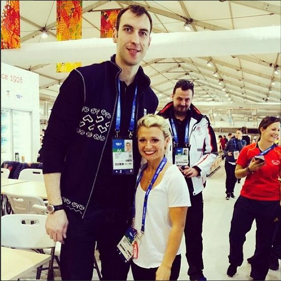Slovak hockey player Zdeno Chara is 6'9. Here he poses with Canadian figure skater Kirsten Moore-Towers who is 4'10.  CBC Olympics Sochi 2014