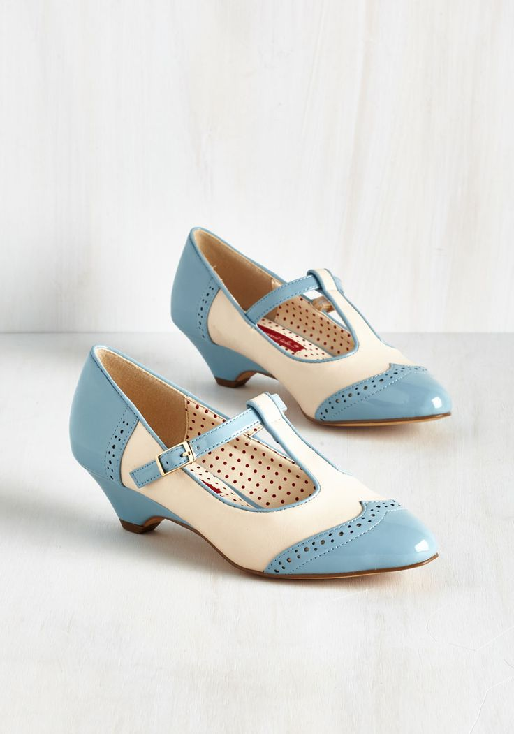 Care to Dance? Heel in Sky by Bait Footwear - Blue, White, Solid, Work, Casual, Daytime Party, Vintage Inspired, 40s, Variation