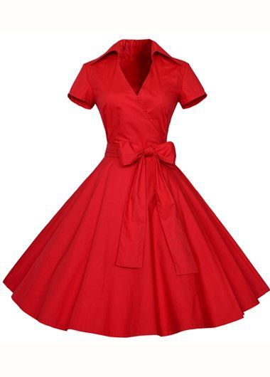 Short Sleeve High Waist Red Skater Dress on sale only US$33.95 now, buy cheap Short Sleeve High Waist Red Skater Dress at lulugal.com