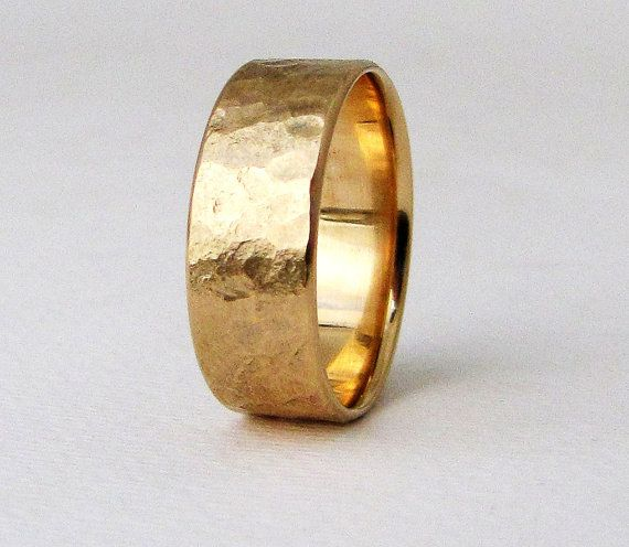 Men's Rustic Wedding Band Gold Wedding Ring Men's by GoldSmack