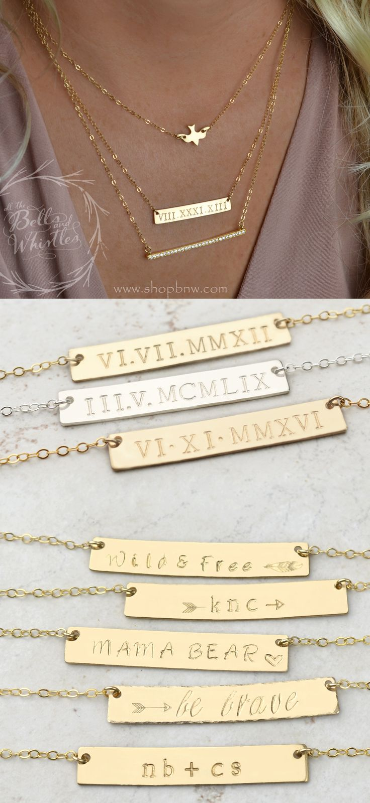Roman Numeral Necklace Set Diamond Bar Necklace