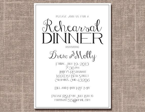 Classic Modern Rehearsal Dinner Invitation  by EllieJamesProducts