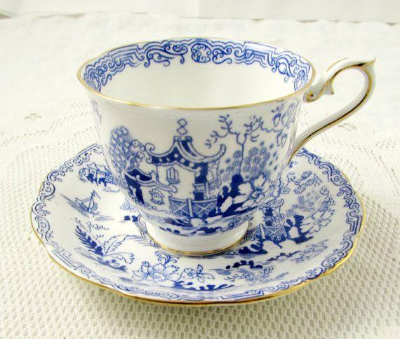 Royal Albert Tea Cup and Saucer Blue Mikado, Vintage Bone China