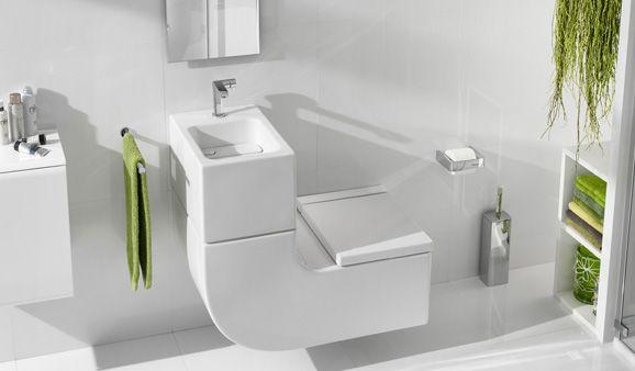 Deux-en-un, le WC lave-mains est gain de place et économe en eau quand il recycle celle qui coule dans l'un pour tirer la chasse de l'autre. Sinon, il permet de s'offrir un lave-mains même sans arrivée d'eau spécifique.