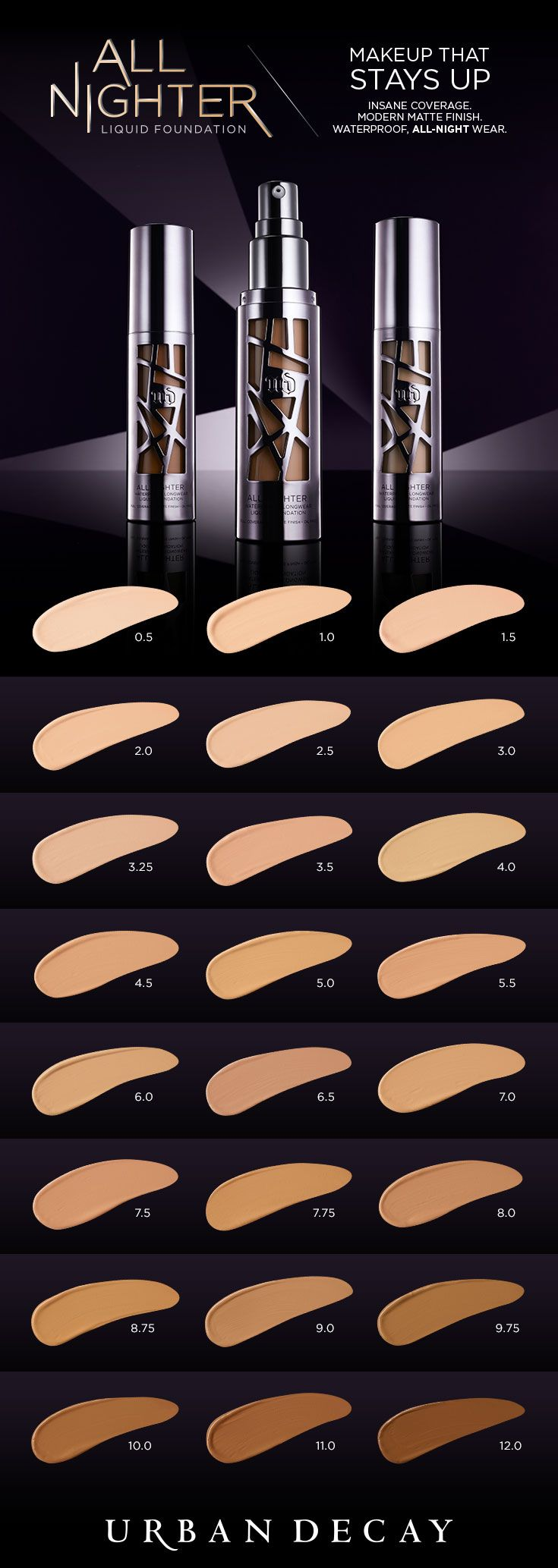 All Nighter Liquid Foundation provides full coverage with a modern matte finish that never looks overdone. Get serious long-lasting wear and a blown-out effect you never thought was possible. Perfect for all-night affairs and other scandalous activities, our revolutionary formula is also comfortable enough to wear every day. #UDAllNighter #UrbanDecay