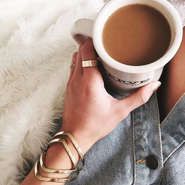 Love how @rocksbox is styling our Double Arrow Cuff...with coffee. Happy Monday! ☕️✨