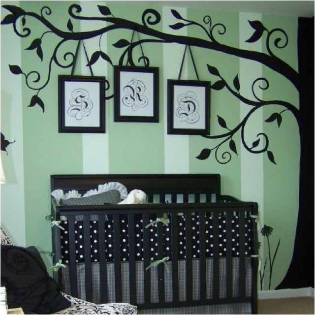 Love the tree mural and hanging framed monogram...would work in a toddler or tween room, also.