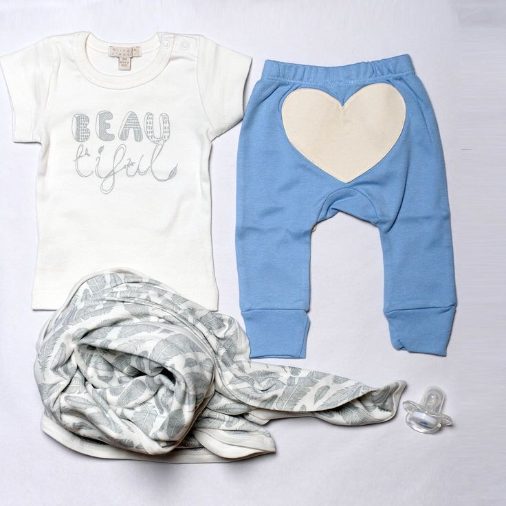 Wilson & Frenchy beautiful tee and feathers bunny rug with Sapling Child little boy blue love heart pants, all available at Baby Dino.