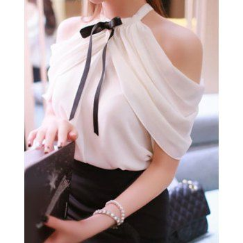 Sweet Bow Tie Collar Short Sleeve Solid Color Off-The-Shoulder Women's Blouse (WHITE,ONE SIZE(FIT SIZE XS TO M)) in Blouses | DressLily.com
