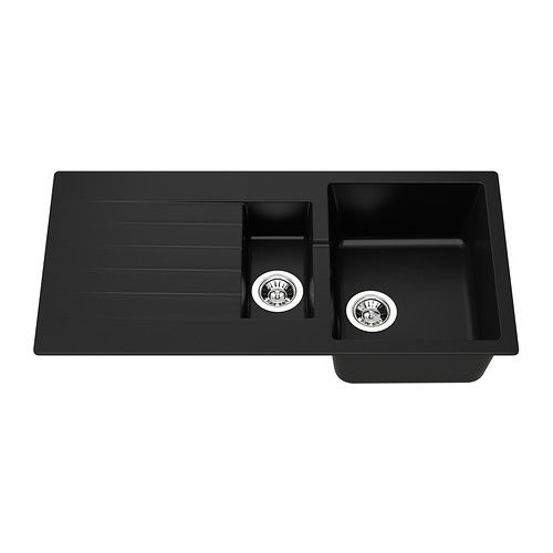HÄLLVIKEN 1 1/2 bowl insert sink with drainer IKEA 25 year guarantee. Read about the terms in the guarantee brochure. £250