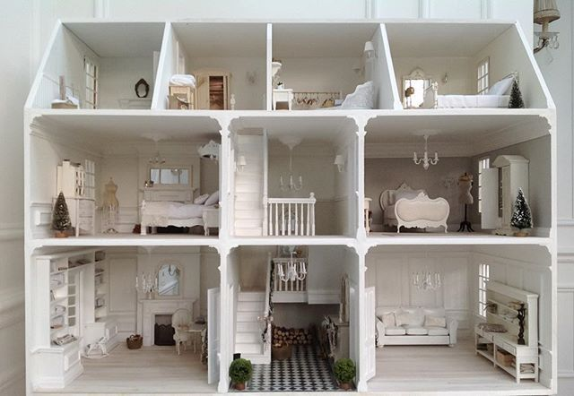 White and Faded on IG. Beautiful white shabby Chic dollhouse.