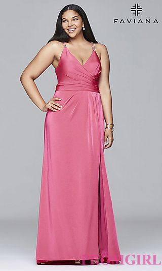 Faviana V-Neck Plus-Size Prom Dress at PromGirl.com