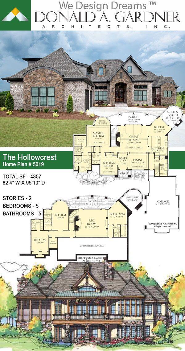 The Hollowcrest House Plan 5019 Luxuryhouse Luxuryhome Hillsidewalkout Wedesigndreams Dongardnerar Lake House Plans House Blueprints Luxury House Plans