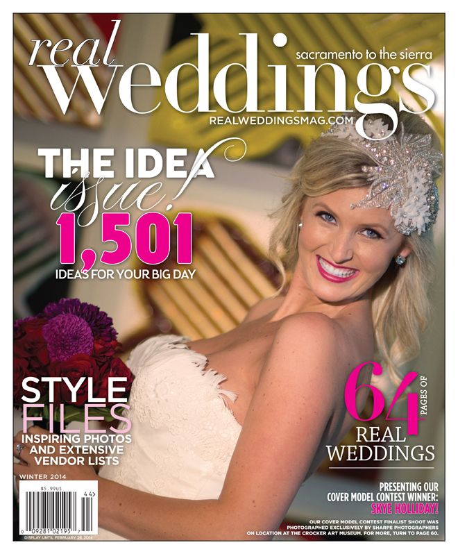 """From the """"Beautiful Works of Art"""" Cover Model Contest feature in the Winter/Spring 2014 issue of Real Weddings Magazine, Photography by www.SharpePhotographers.com © Real Weddings Magazine, www.realweddingsmag.com. To see more, including a full list of all of the professionals on this shoot, visit: http://www.realweddingsmag.com/real-weddings-cover-model-finalist-skye-holliday-beautiful-works-of-art/Covers Models, Current Covers"""