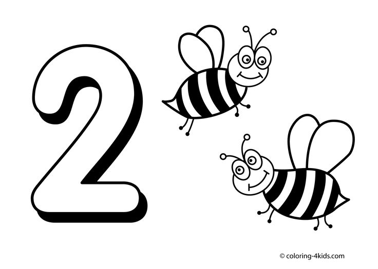 2 Numbers Coloring Pages For Kids Printable Free Digits Books