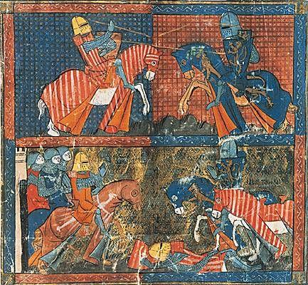 Chretien de Troyes. Yvain ou le chevalier au lion. Miniature d'un manuscrit du XIIIème siecle