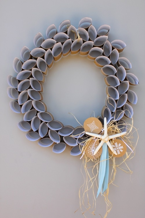Toilet paper roll Christmas wreath with a coastal theme