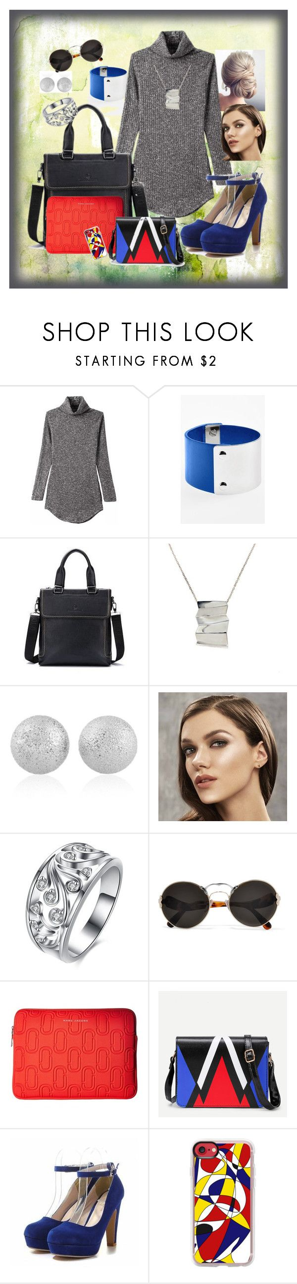 """""""Grey Sweater Dress challenge"""" by divinespiritcreations ❤ liked on Polyvore featuring Leith, Filio, Tiffany & Co., Prada, Marc Jacobs and Casetify"""