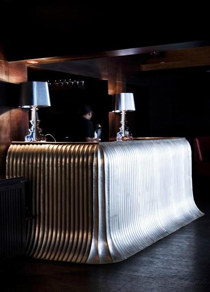 Beautiful fluted bar counter by Viya Home
