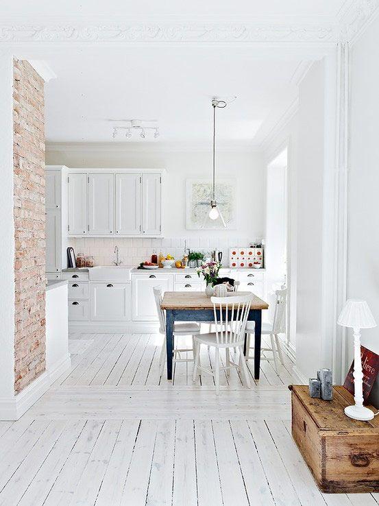 Den ofärdiga stilen stark – tegelvägg i köket nästa trend – Sköna hem