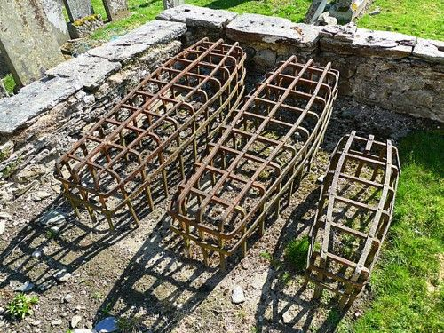 Anti Body-Snatching Defenses In Scottish Graveyard. Could be made out of PVC or paper mache for a Halloween prop graveyard.