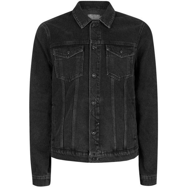 TOPMAN Black Denim Jacket (£40) ❤ liked on Polyvore featuring men's fashion, men's clothing, men's outerwear, men's jackets, black, mens cotton jacket and mens western jackets
