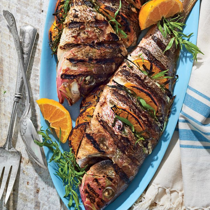 Grilled Whole Snapper with Tarragon and Tangerines Recipe