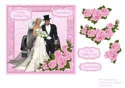 Wedding day card with bride   groom   decoupage pink roses on Craftsuprint - View Now!