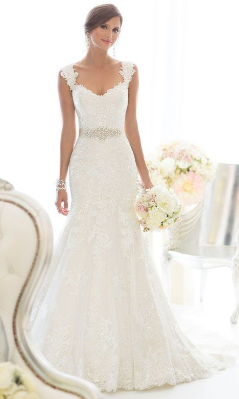 Classic lace gown over dolce satin featuring sweetheart neckline, wide lace straps, scalloped lace edging at the hem and detachable diamante-beaded sash.More De