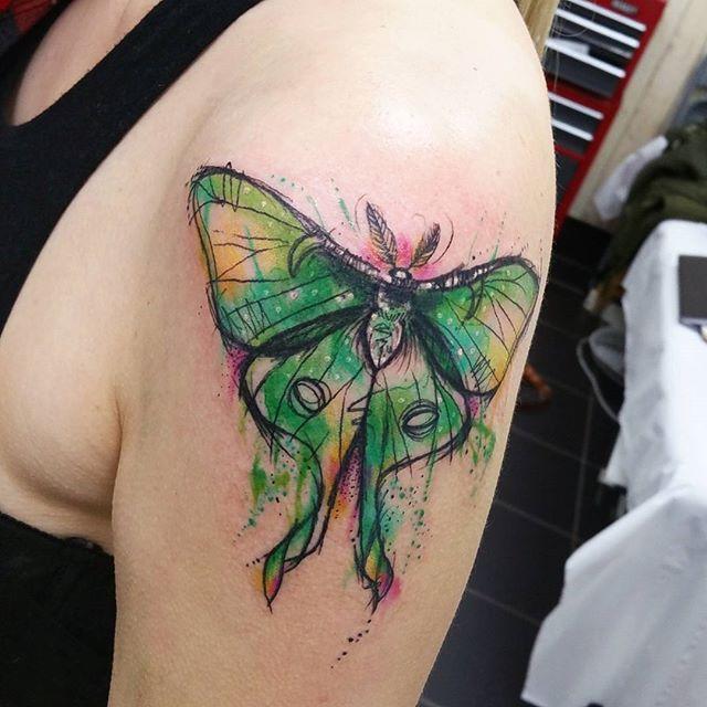 WEBSTA @ josiesexton - Mothy moth, thanks Julie 😄 #watercolours #tattoo #watercolourtattoo #lunamoth #luna #mothtattoo #moth #sketch #sketchytattoo #illustration #middlesbrough