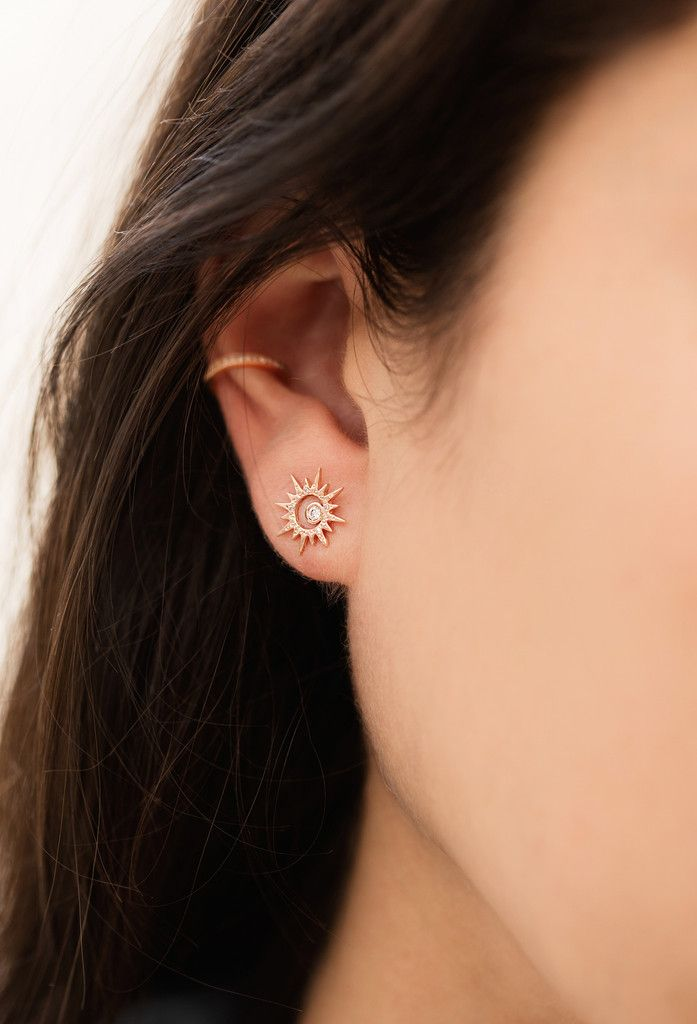 14kt gold and diamond sunburst stud – Luna Skye by Samantha Conn