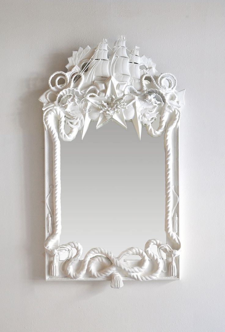 White Mirror with Ship, Shells and Nautical Rope - Grand Fluyt -  Codor Design Objet Trouve Mirrors