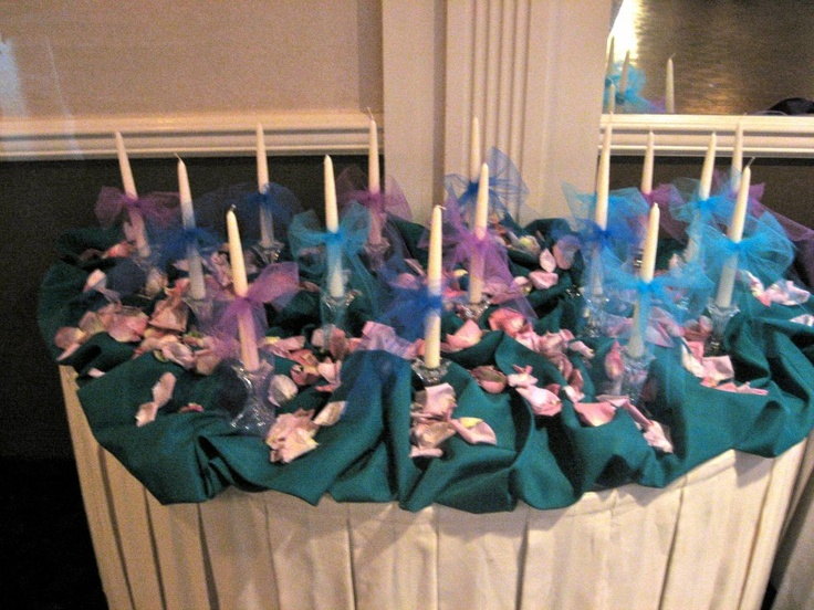 An array of purple, teal and blue was tied in by Brianna's 16 Candles display