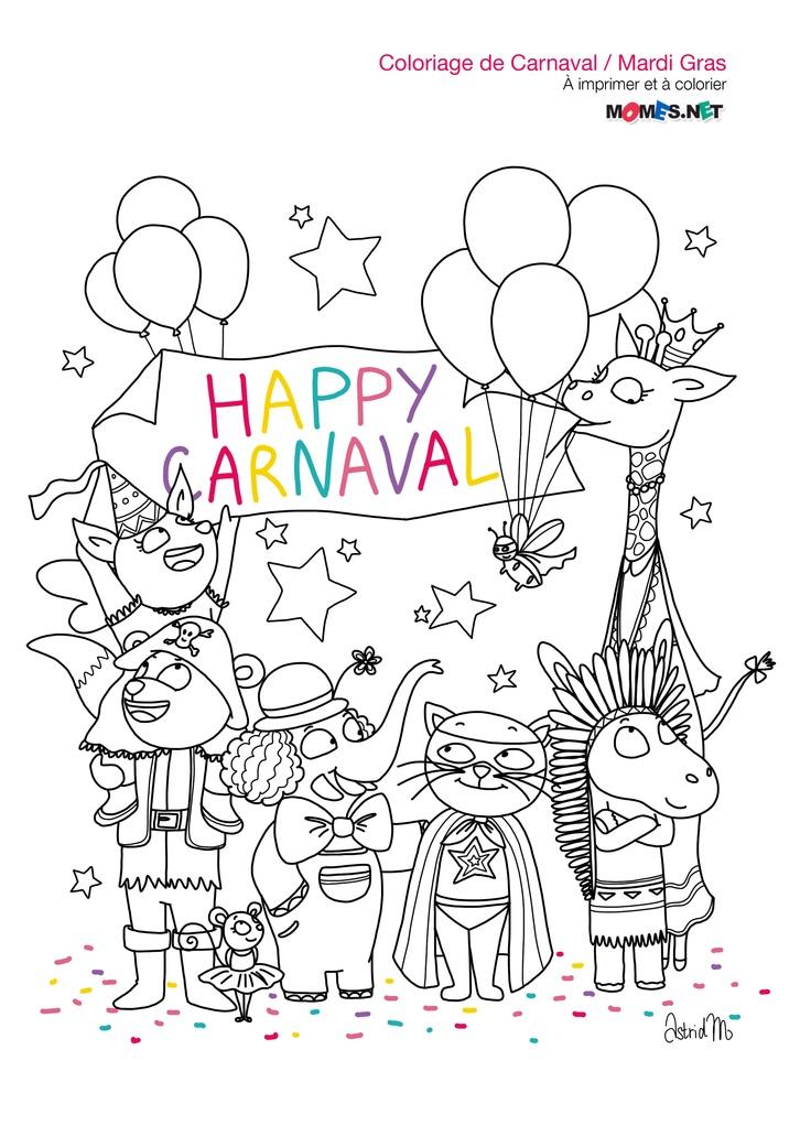 Coloriage Happy Carnaval & Joyeux Mardi Gras ! / Le blog de momes.net