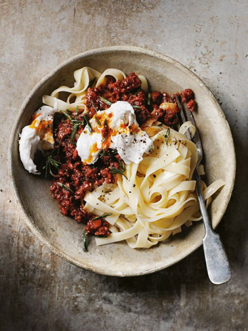 chorizo bolognese with buffalo mozzarella