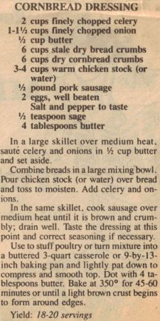 Cornbread Dressing Recipe Clipping. I usually add a can of mushroom soup and chopped, roasted chicken. Yummy