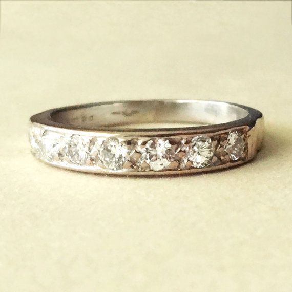Vintage White Gold .40 Carat Diamond Eternity Ring, Diamond Engagement Ring, 9k Gold Diamond Ring, Approx. Size US 6.25 / 6.5    This lovely ring is