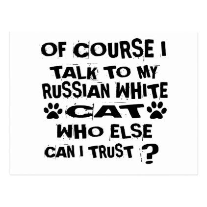 OF COURSE I TALK TO MY RUSSIAN WHITE CAT DESIGNS POSTCARD - white gifts elegant diy gift ideas