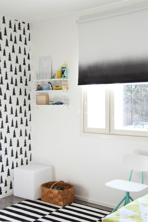 -dip dyed roller shade -- would make a cool diy... and I'm still obsessed with that graphic pine wallpaper.