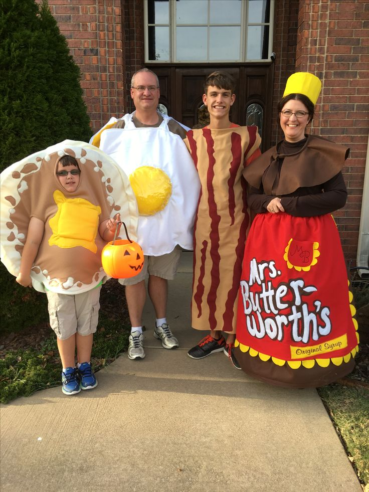 Halloween costumes- Pancake, Egg, Bacon, and Syrup. A family of four breakfast club-2016