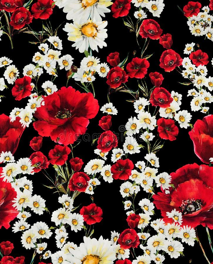 Seamless Floral Pattern With Red Flowers And White Daisy On Black Background Ready For Textile Prints Vect Red Flowers Black Background Design Textile Prints