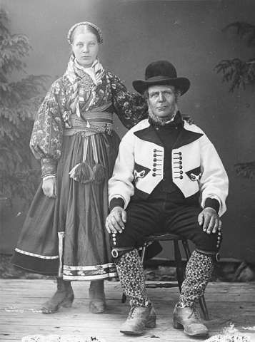 NORWAY: The traditional folk costume of Norway, called Bunad. Nowadays, it is commonly worn on Norway's Constitution day (May 17). The specifics of design may also vary, shown here is a couple from the Telemark region circa 1880-1890s.