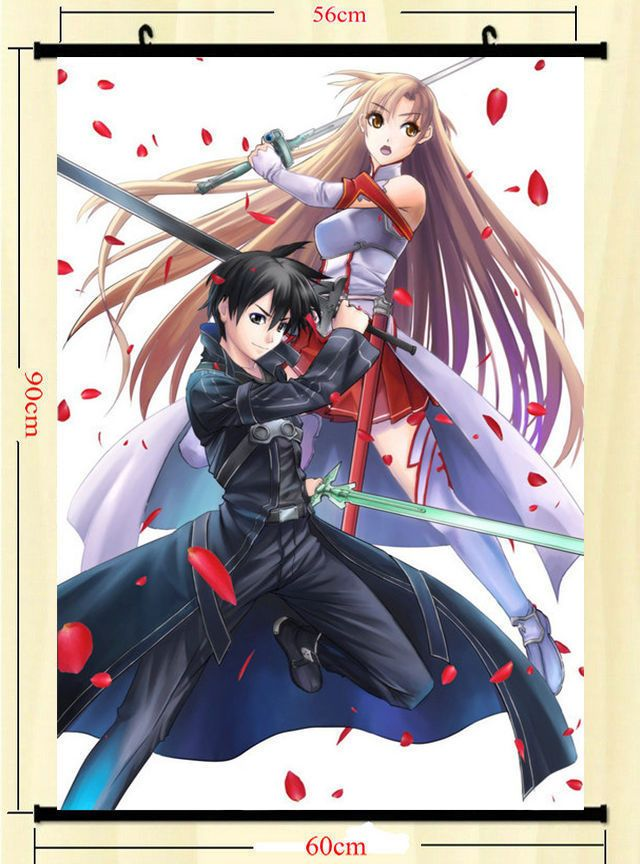 8 99 Sword Art Online 2 Anime Art Silk Wall Scroll Poster 24x36 Asuna Kirito Sao 012 Ebay Co Sword Art Sword Art Online Kirito Sword Art Online Wallpaper