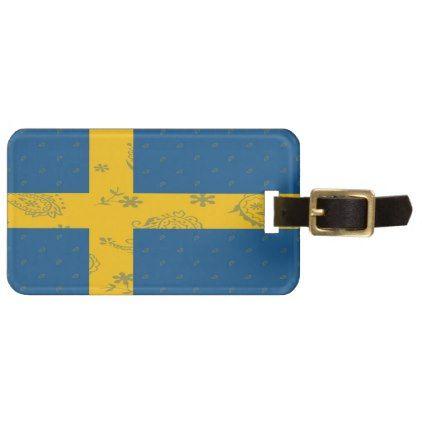 Sweden Flag Luggage Tag - accessories accessory gift idea stylish unique custom